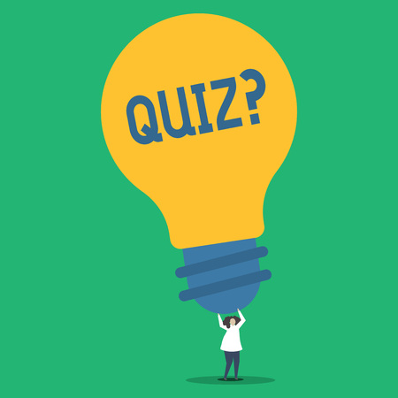 Handwriting text Quizquestion. Conceptual photo Short Tests Evaluation Examination to quantify your knowledge Person Standing and Raising Up Arms Holding Big Yellow Lightbulb for Ideas Stock Photo
