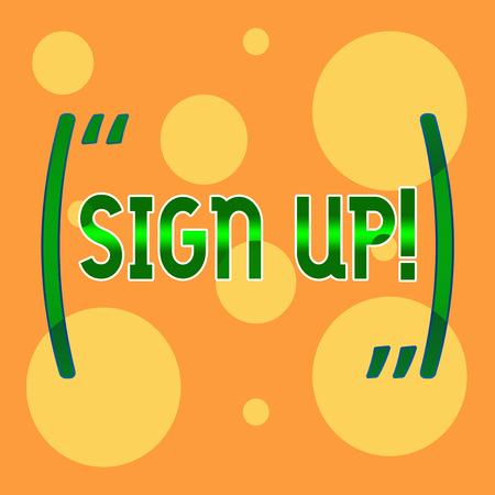 Text sign showing Sign Up. Business photo showcasing commit oneself to period of employment website or in forces Different Sizes of Blank Yellow Circles in Random on Pale Orange Backdrop