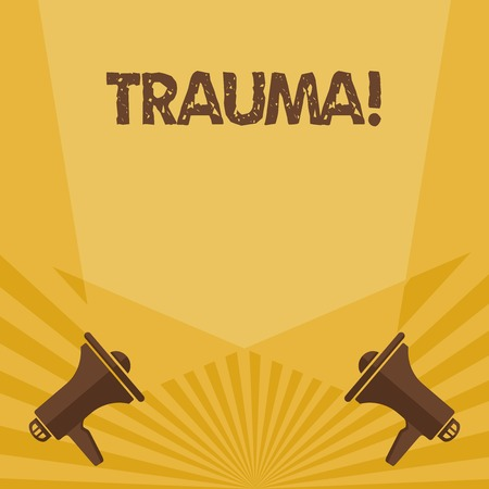 Writing note showing Trauma. Business concept for Disturbing physical and emotional injuries shock experience Spotlight Crisscrossing Upward from Megaphones on the Floor