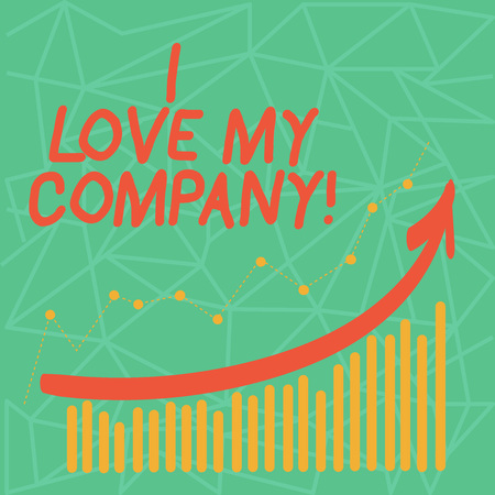 Writing note showing I Love My Company. Business concept for tell why admire their job and workplace Colorful Column and Line Graphic Chart with Arrow Going Up 스톡 콘텐츠