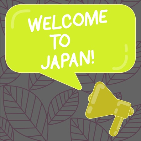 Writing note showing Welcome To Japan. Business concept for Arriving to Asian modern country different culture Megaphone and Rectangular Color Speech Bubble with Reflection