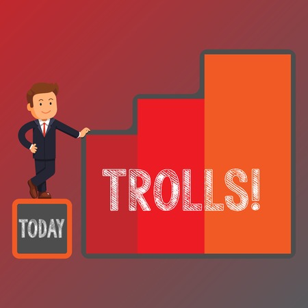 Conceptual hand writing showing Trolls. Concept meaning Online troublemakers posting provocative inflammatory messages Businessman Presenting Growth and Success in Graph Columns Stock Photo - 119865635