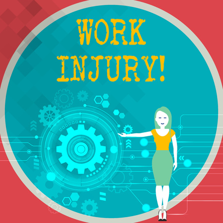 Text sign showing Work Injury. Business photo showcasing accident that occurred during and as result of working Woman Standing and Presenting the SEO Process with Cog Wheel Gear inside