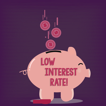 Text sign showing Low Interest Rate. Business photo showcasing Manage money wisely pay lesser rates save higher Color Piggy Bank Sideview and Dollar Currency Coins Falling Down to the Slit