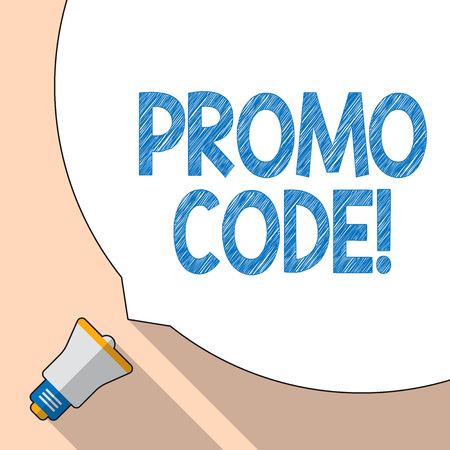 Writing note showing Promo Code. Business concept for consisting letters numbers consumers can enter obtain discount White Speech Bubble Occupying Half of Screen and Megaphone