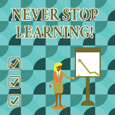 Handwriting text writing Never Stop Learning. Conceptual photo keep on studying gaining new knowledge or materials Businesswoman Holding Stick Pointing to Chart of Arrow Upward on Whiteboard Stock fotó