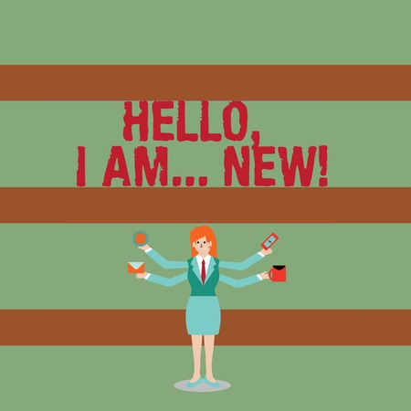 Writing note showing Hello I Am New. Business concept for used greeting or begin telephone conversation Woman with Four Arms Extending Sideways Workers Needed Item Banco de Imagens