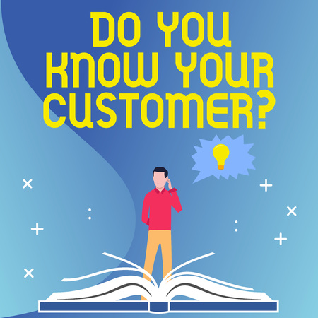 Text sign showing Do You Know Your Customer Question. Business photo text service identify clients with relevant information Man Standing Behind Open Book, Hand on Head, Jagged Speech Bubble with Bulb