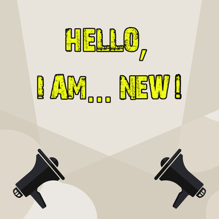 Conceptual hand writing showing Hello I Am New. Concept meaning used greeting or begin telephone conversation Blank Spotlight Crisscrossing Upward Megaphones on the Floor