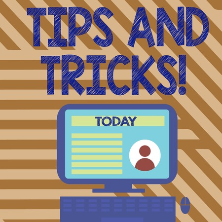 Text sign showing Tips And Tricks. Business photo showcasing means piece advice maybe suggestion how improve Desktop Computer Mounted on Stand with Online Profile Data on Monitor Screen