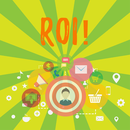 Conceptual hand writing showing Roi. Concept meaning Return on investment perforanalysisce measure gains business growth photo of Digital Marketing Campaign and Elements for Ecommerce Stock Photo