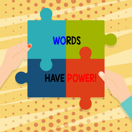 Handwriting text Words Have Power. Conceptual photo as they has ability to help heal hurt or harm someone Four Blank Multi Color Jigsaw Puzzle Tile Pieces Put Together by Human Hands Фото со стока