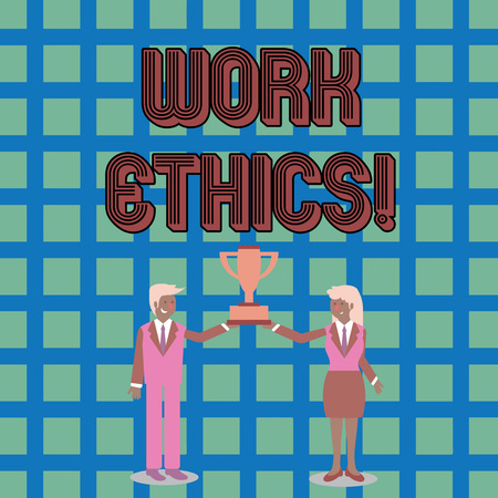 Text sign showing Work Ethics. Business photo text principle that hard work intrinsically virtuous worthy reward Man and Woman in Business Suit Holding Together the Championship Trophy Cup