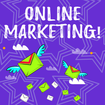 Text sign showing Online Marketing. Business photo text leveraging web based channels spread about companys brand Many Colorful Airmail Flying Letter Envelopes and Two of Them with Wings