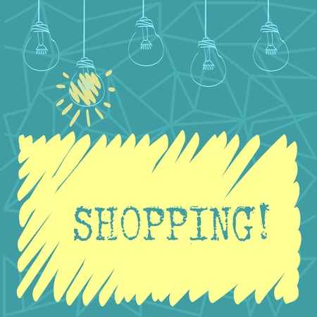 Handwriting text Shopping. Conceptual photo Shopper customer purchase goods products store experience Set of Transparent Bulbs Hanging with Filament and One is in Lighted Icon 免版税图像
