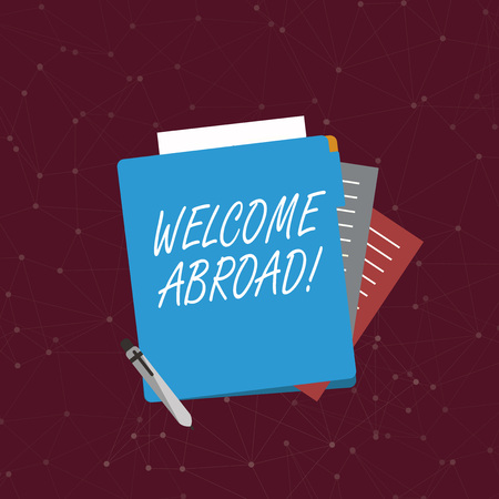 Handwriting text writing Welcome Abroad. Conceptual photo something that you say when someone gets on ship Colorful Lined Paper Stationery Partly into View from Pastel Blank Folder