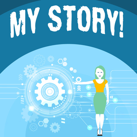 Writing note showing My Story. Business concept for your past life events actions career or choices you have made Woman Presenting the SEO Process with Cog Wheel Gear inside Reklamní fotografie