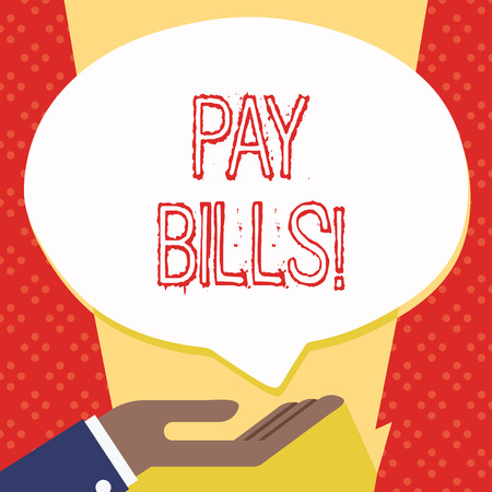 Text sign showing Pay Bills. Business photo showcasing list of expenses to be paid total amount costs or expenses Palm Up in Supine Position for Donation Hand Sign Icon and Speech Bubble Banco de Imagens