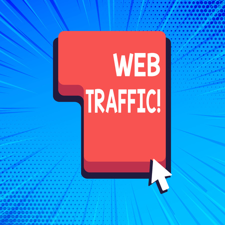 Writing note showing Web Traffic. Business concept for amount of data sent and received by visitors to website Direction to Press or Click Command Key with Arrow Cursor