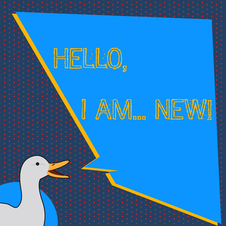 Text sign showing Hello I Am New. Business photo text used greeting or begin telephone conversation photo of Duck Speaking with Uneven Shape Blank Blue Speech Balloon Stok Fotoğraf
