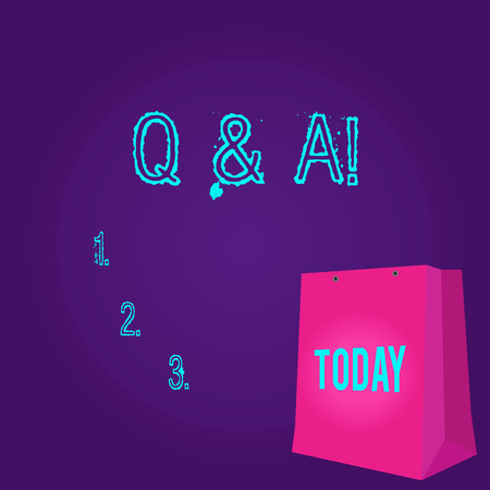 Word writing text Q And A. Business photo showcasing defined as questions being asked by showing and answers for them Color Gift Bag with Punched Hole but Without Handle on Twotone Blank Space