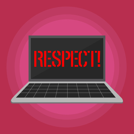 Text sign showing Respect. Business photo text Feeling of deep admiration for someone or something Appreciation Laptop with Grid Design Keyboard and Blank Black Screen on Pastel Backdrop Stock Photo