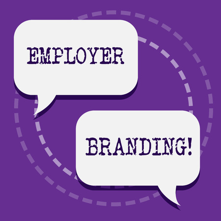 Word writing text Employer Branding. Business photo showcasing promoting company employer choice to desired target group Two Blank White Speech Balloon Engaging in Conversation on Pastel Backdrop