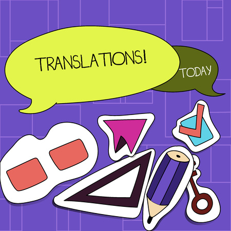 Handwriting text Translations. Conceptual photo Written or printed process of translating words text voice Two Blank Colorful Speech Balloon and Different Labels Sticker Style Icons