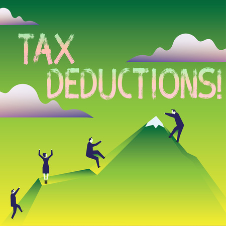 Word writing text Tax Deductions. Business photo showcasing reduction income that is able to be taxed of expenses Business People Climbing Color Mountain by Themselves Holding Invisible Rope