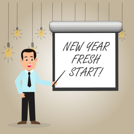 Writing note showing New Year Fresh Start. Business concept for Time to follow resolutions reach out dream job Man in Necktie Holding Stick Pointing White Screen on Wall Stock Photo - 119922977
