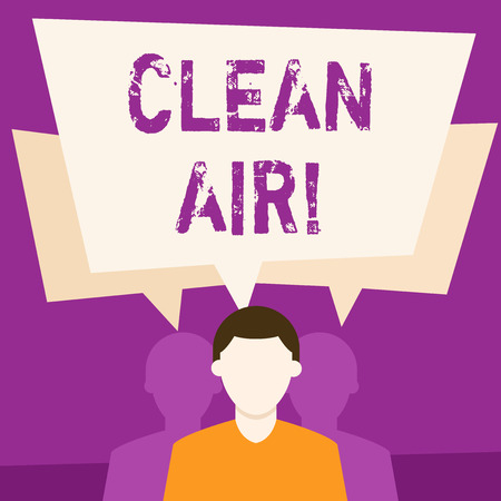 Text sign showing Clean Air. Business photo showcasing forbidding in certain areas burning any fuel that produces smoke Faceless Man has Two Shadows Each has Their Own Speech Bubble Overlapping Stock Photo
