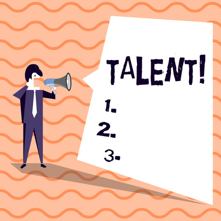 Word writing text Talent. Business photo showcasing Natural abilities of showing showing specialized skills they possess Businessman Shouting on Megaphone and Blank White Uneven Shape Speech Bubble Imagens - 119923028