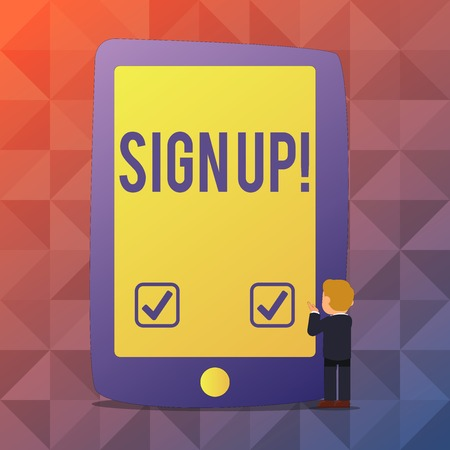Word writing text Sign Up. Business photo showcasing commit oneself to period of employment website or in forces Businessman Standing and Gesturing Facing Blank Screen Giant Tablet Device