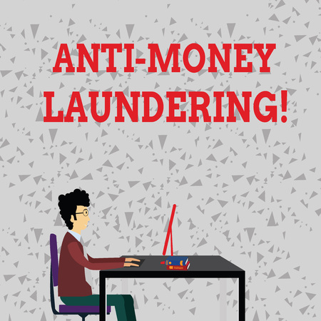 Word writing text Anti Money Laundering. Business photo showcasing regulations stop generating income through illegal actions Businessman Sitting Straight on Chair Working on Computer and Books on Table