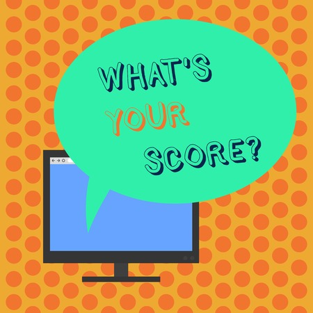 Writing note showing What S Your Score. Business concept for Personal grade rating on a competition game or study Mounted Computer Monitor Blank Screen with Oval Color Speech Bubble