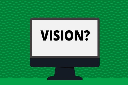 Writing note showing Vision question. Business concept for Company commitment describing future realistic state Blank Desktop Computer Colorful Screen Freestanding on Table 版權商用圖片