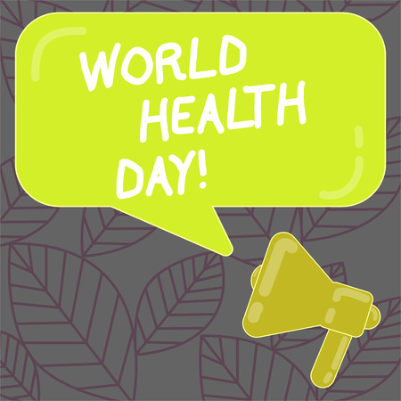 Writing note showing World Health Day. Business concept for Global health awareness day celebrated every year Megaphone and Rectangular Color Speech Bubble with Reflection Stock Photo