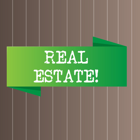 Text sign showing Real Estate. Business photo text owning property consisting of empty land or buildings Blank Folded Color Banner photo on Vertically Striped Two Toned Backdrop