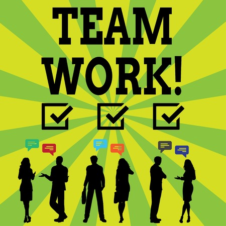 Handwriting text writing Team Work. Conceptual photo combined action of group especially when effective and efficient Silhouette Figures of Business PeopleTalking with Gestures and Text Balloon