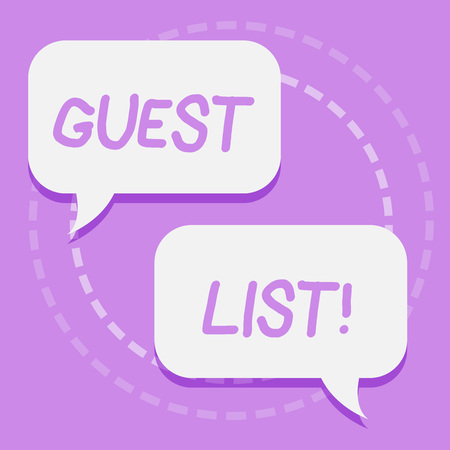 Handwriting text writing Guest List. Conceptual photo showing who are to be admitted to concert or similar event Two Blank White Speech Balloon Engaging in Conversation on Pastel Backdrop