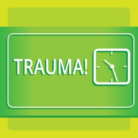 Signo de texto que muestra el trauma. Foto de negocios que muestra perturbadoras lesiones físicas y emocionales experiencia de choque Diseño moderno de reloj analógico cuadrado transparente sobre fondo pastel de dos tonos Foto de archivo