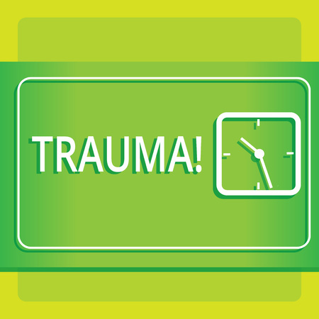 Text sign showing Trauma. Business photo showcasing Disturbing physical and emotional injuries shock experience Modern Design of Transparent Square Analog Clock on Two Tone Pastel Backdrop Stockfoto