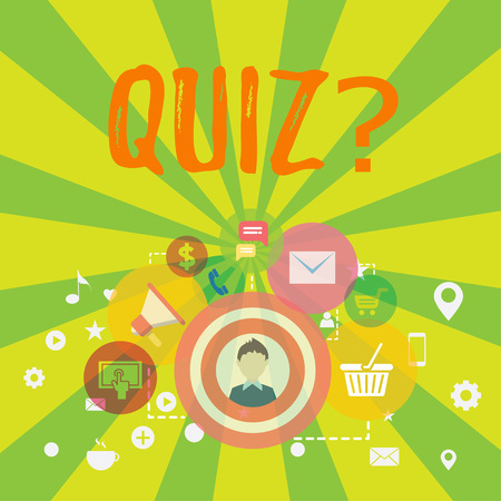 Conceptual hand writing showing Quizquestion. Concept meaning Short Tests Evaluation Examination to quantify your knowledge photo of Digital Marketing Campaign and Elements for Ecommerce