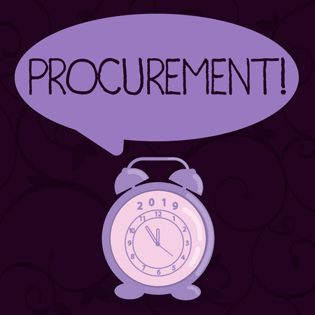 Conceptual hand writing showing Procurement. Concept meaning Procuring Purchase of equipment and supplies Speech Balloon Pastel Shade and Colorful Analog Alarm Clock Reklamní fotografie