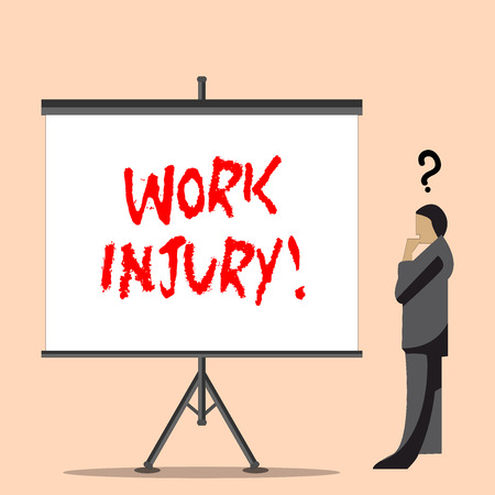 Word writing text Work Injury. Business photo showcasing accident that occurred during and as result of working Businessman with Question Mark Above his Head Standing Beside Blank Screen
