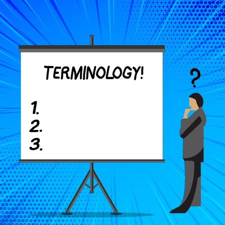 Word writing text Terminology. Business photo showcasing Collection of terms used by different profession study industry Businessman with Question Mark Above his Head Standing Beside Blank Screen