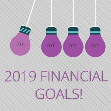 Word writing text 2019 Financial Goals. Business photo showcasing New business strategy earn more profits less investment Color Incandescent Pendant Bulb Hanging with One Different Shade Lightbulb