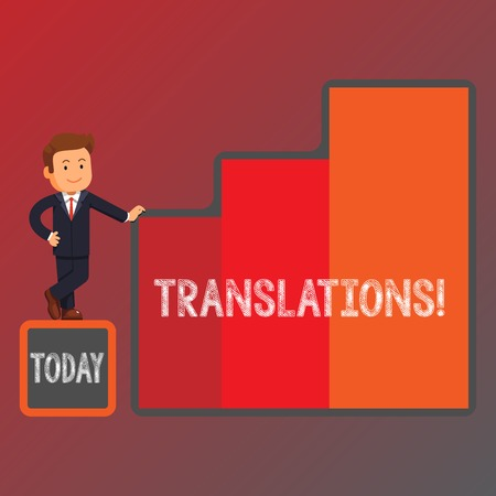 Conceptual hand writing showing Translations. Concept meaning Written or printed process of translating words text voice Businessman Presenting Growth and Success in Graph Columns
