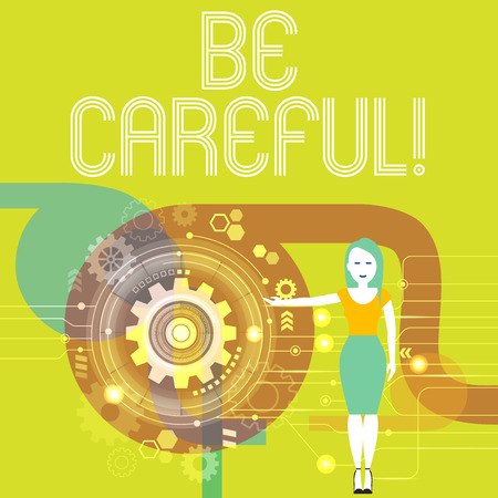 Handwriting text writing Be Careful. Conceptual photo making sure of avoiding potential danger mishap or harm Woman Standing and Presenting the SEO Process with Cog Wheel Gear inside