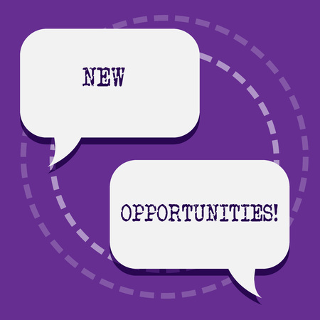 Word writing text New Opportunities. Business photo showcasing exchange views condition favorable for attainment goal Two Blank White Speech Balloon Engaging in Conversation on Pastel Backdrop